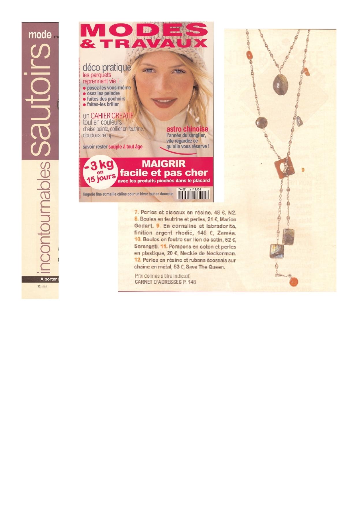 article Modes & travaux - bijoux ZAMEA