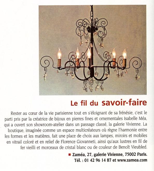 article Art et Décoration lustre Benoit Vieubled